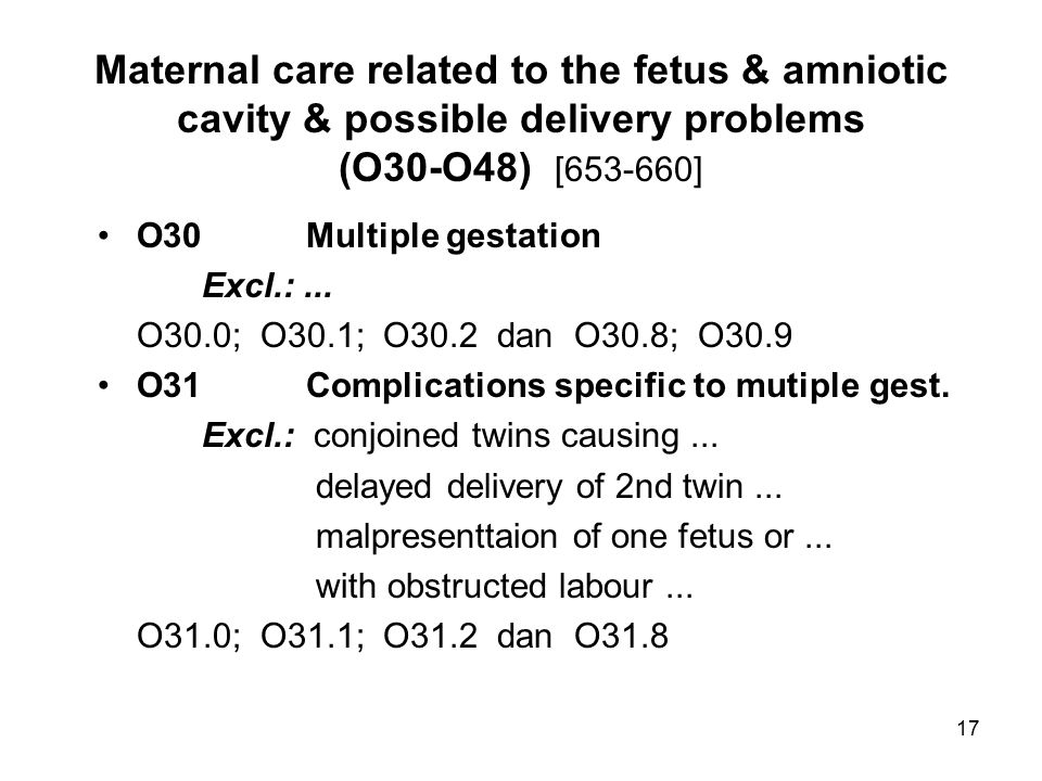 Maternal care related to the fetus & amniotic cavity & possible delivery problems (O30-O48) [653-660]